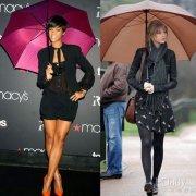 雨季来到 明星雨伞装扮吸引眼球
